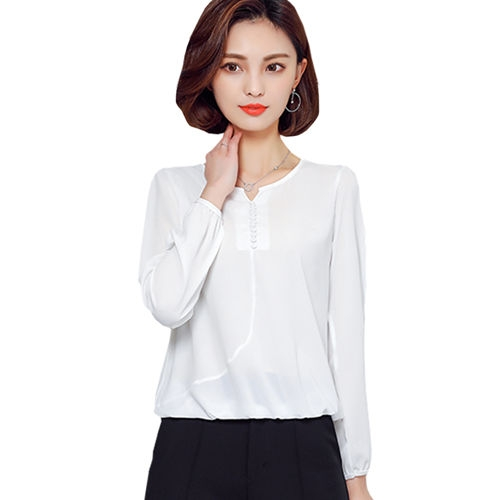 2017 Long Sleeve Blouse Shirt Women Clothes Autumn Korean Style V neck Solid Female Tops white 4xl