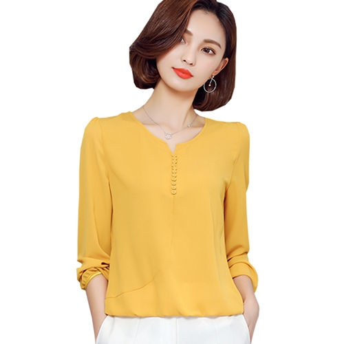 2017 Long Sleeve Blouse Shirt Women Clothes Autumn Korean Style V neck Solid Female Tops yellow xl