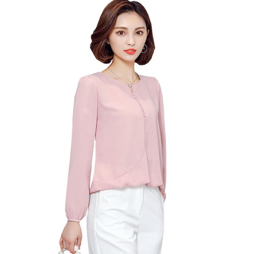 2017 Long Sleeve Blouse Shirt Women Clothes Autumn Korean Style V neck Solid Female Tops pink 2xl
