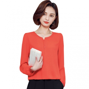 2017 Long Sleeve Blouse Shirt Women Clothes Autumn Korean Style V neck Solid Female Tops orange 3xl