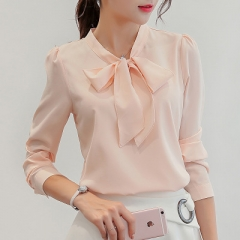 Spring The New Korean Casual Chiffon Blouse Shirt Pink White Office Women Shirt Chiffon Women Tops pink s