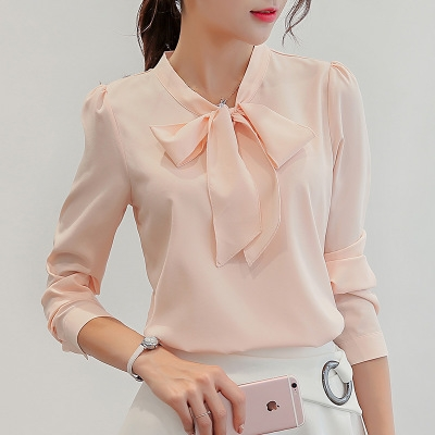 Spring The New Korean Casual Chiffon Blouse Shirt Pink White Office Women Shirt Chiffon Women Tops pink xl
