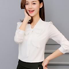 Spring The New Korean Casual Chiffon Blouse Shirt Pink White Office Women Shirt Chiffon Women Tops white s