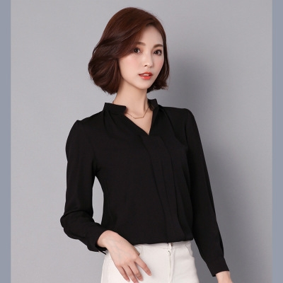 2017 Long Sleeve Elegant Ladies Office Shirts Korean Fashion Casual Slim Women Tops black s