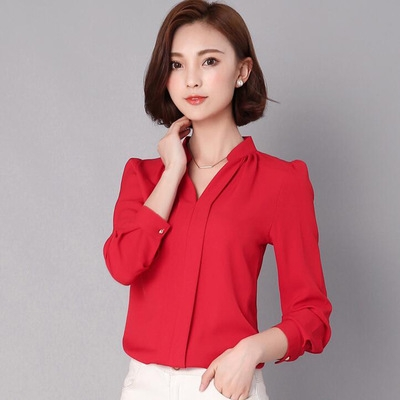 2017 Long Sleeve Elegant Ladies Office Shirts Korean Fashion Casual Slim Women Tops red l
