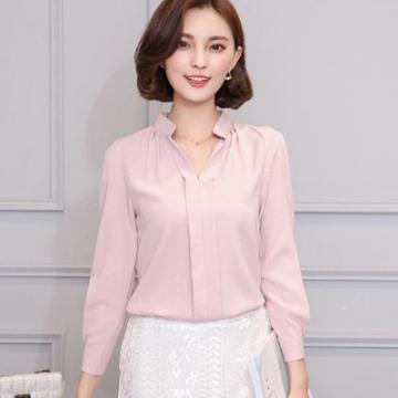 2017 Long Sleeve Elegant Ladies Office Shirts Korean Fashion Casual Slim Women Tops pink m