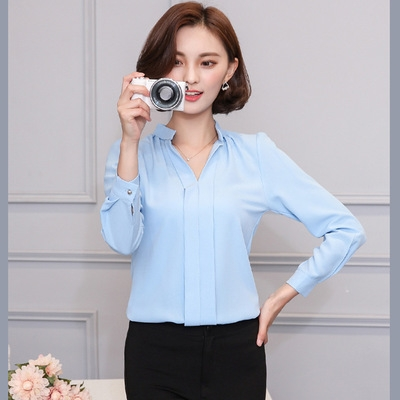 2017 Long Sleeve Elegant Ladies Office Shirts Korean Fashion Casual Slim Women Tops sky blue 2xl