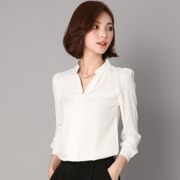 2017 Long Sleeve Elegant Ladies Office Shirts Korean Fashion Casual Slim Women Tops white xl