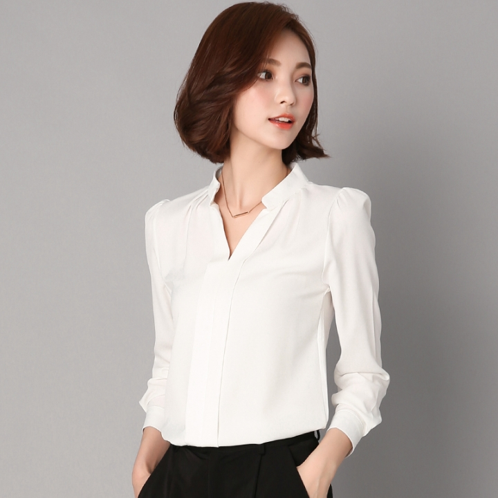 2017 Long Sleeve Elegant Ladies Office Shirts Korean Fashion Casual Slim Women Tops white s