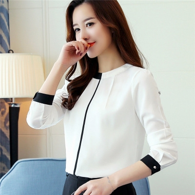 2017 Autumn long sleeved chiffon blouse Elegant Slim Office lady shirt Fashion women shirts white 2xl