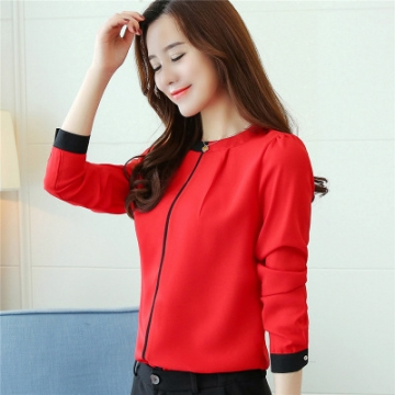 2017 Autumn long sleeved chiffon blouse Elegant Slim Office lady shirt Fashion women shirts red m