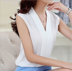 NEW 2017 Summer Women Chiffon Blouses Sleeveless V neck Casual Loose Office Lady Top white 2xl