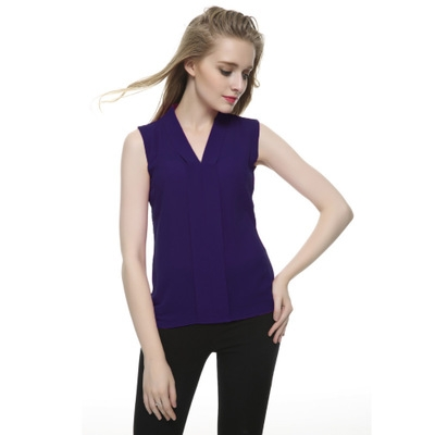 NEW 2017 Summer Women Chiffon Blouses Sleeveless V neck Casual Loose Office Lady Top dark blue l