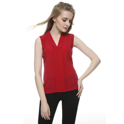NEW 2017 Summer Women Chiffon Blouses Sleeveless V neck Casual Loose Office Lady Top red s