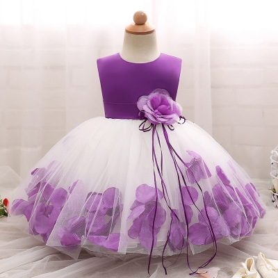 2018 Baby Girl Wedding Veil Dresses Kids's Party Wear Costume For Girl Children Clothing #02 110cm