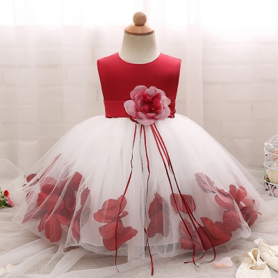 2018 Baby Girl Wedding Veil Dresses Kids's Party Wear Costume For Girl Children Clothing #01 120cm