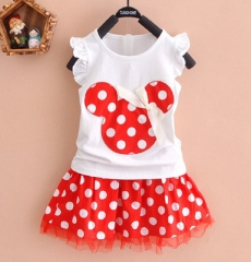 2017 Fashion Cartoon Mouse Princess Birthday Party Outfit Girls Dresses Red Dot Kids Clothing red 90cm