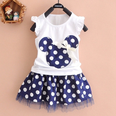 2017 Fashion Cartoon Mouse Princess Birthday Party Outfit Girls Dresses Red Dot Kids Clothing blue 130cm
