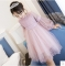 2017 New Dresses For Girls Cute Lace Solid Ball Grown Party Princess Baby Kids Clothes pink 160cm