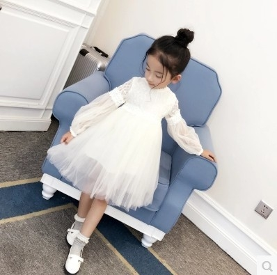 2017 New Dresses For Girls Cute Lace Solid Ball Grown Party Princess Baby Kids Clothes white 130cm