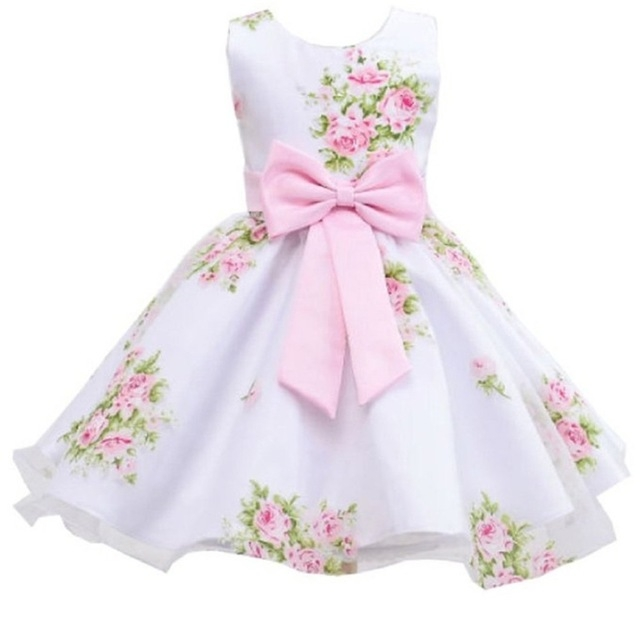 2017 New style summer baby girl print flower girl dress for wedding girls party dress with bow dress pink 120cm