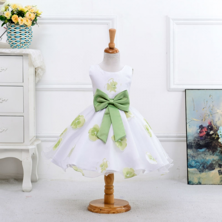 2017 New style summer baby girl print flower girl dress for wedding girls party dress with bow dress green 140cm