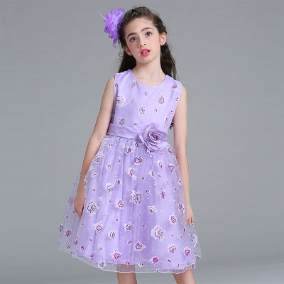 2017Retail flower dress in sashes for wedding party girls floral print dress first communion dresses purple 130cm