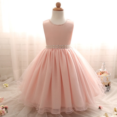 2017 New summer Pink Children Dresses For Girls Kids Formal Wear Princess Dress pink 140cm