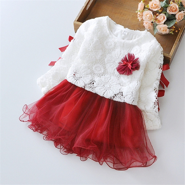 Girls' Dresses 2 Pieces Full Sleeve Dress + US Mesh Coat Toddler Girl Party Wedding Princess Dress red 100cm