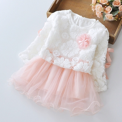 Girls' Dresses 2 Pieces Full Sleeve Dress + US Mesh Coat Toddler Girl Party Wedding Princess Dress pink 70cm