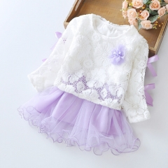 Girls' Dresses 2 Pieces Full Sleeve Dress + US Mesh Coat Toddler Girl Party Wedding Princess Dress purple 70cm