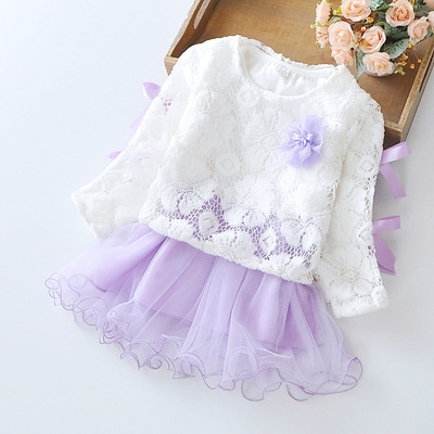 Girls' Dresses 2 Pieces Full Sleeve Dress + US Mesh Coat Toddler Girl Party Wedding Princess Dress purple 90cm