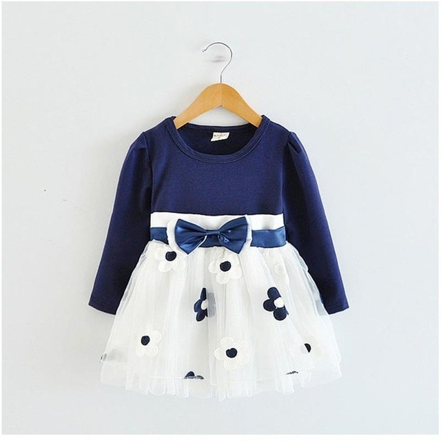 2017 Summer Cotton Flower Baby Dress Clothes 1 year Newborn Girl Clothing dark blue l