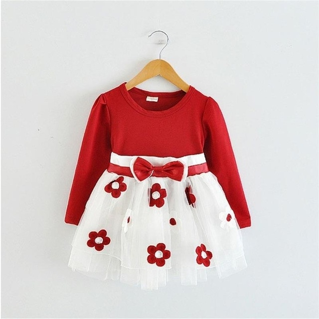 2017 Summer Cotton Flower Baby Dress Clothes 1 year Newborn Girl Clothing red l