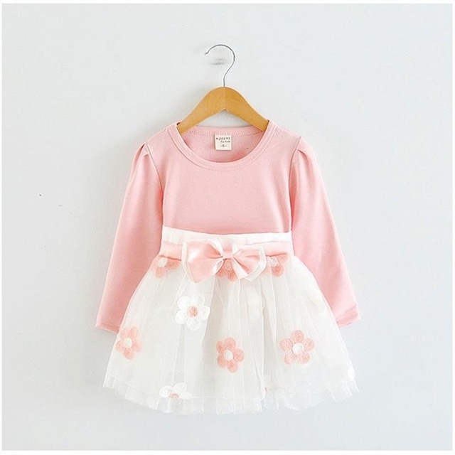 2017 Summer Cotton Flower Baby Dress Clothes 1 year Newborn Girl Clothing pink l