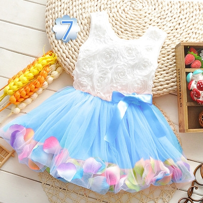2018 Summer Baby Girl Dress Kids Baby Girls Clothing Dresses Beautiful Flower Dress blue 6