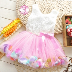 2018 Summer Baby Girl Dress Kids Baby Girls Clothing Dresses Beautiful Flower Dress pink 6