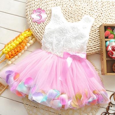 2018 Summer Baby Girl Dress Kids Baby Girls Clothing Dresses Beautiful Flower Dress pink 12