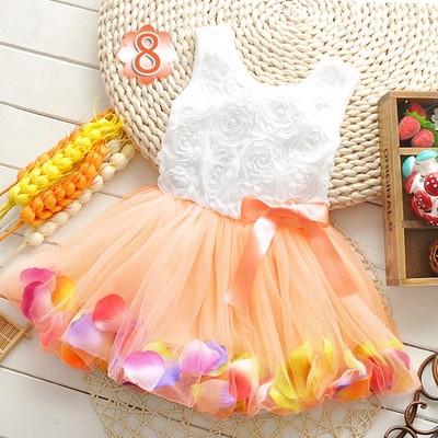 2018 Summer Baby Girl Dress Kids Baby Girls Clothing Dresses Beautiful Flower Dress light orange 10