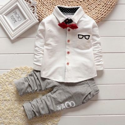 2018 Autumn Baby Sets Kids Long Sleeve Sports Suits Bow Tie T-shirts + Pants Boys Clothes white 90cm