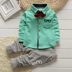 2018 Autumn Baby Sets Kids Long Sleeve Sports Suits Bow Tie T-shirts + Pants Boys Clothes green 70cm