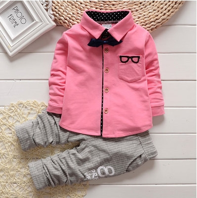 2018 Autumn Baby Sets Kids Long Sleeve Sports Suits Bow Tie T-shirts + Pants Boys Clothes pink 80cm
