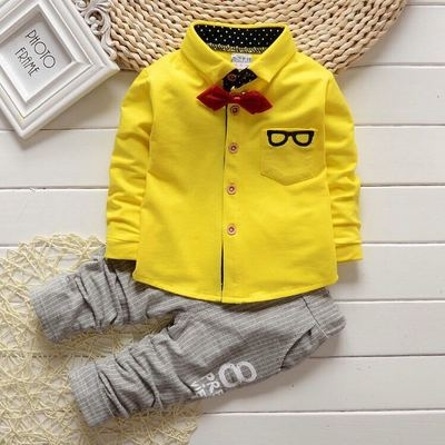 2018 Autumn Baby Sets Kids Long Sleeve Sports Suits Bow Tie T-shirts + Pants Boys Clothes yellow 70cm