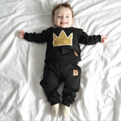 2pcs/set Autumn baby boy pullover long sleeves O-Neck cotton printing Imperial crown Child clothing black 90cm