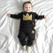 2pcs/set Autumn baby boy pullover long sleeves O-Neck cotton printing Imperial crown Child clothing black 100cm
