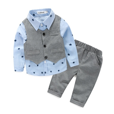 2017 Spring Baby Boy gentleman suit shirt + overalls 2pcs long sleeve T-shirt boys pants kids suits sky blue 70cm