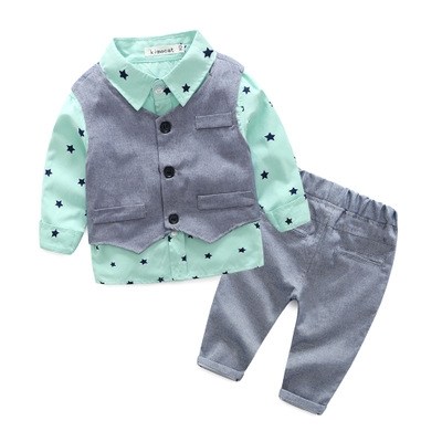 2017 Spring Baby Boy gentleman suit shirt + overalls 2pcs long sleeve T-shirt boys pants kids suits light green 80cm