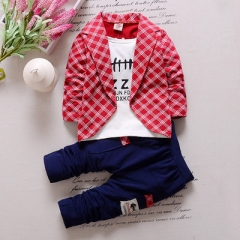 2018 Fashion Boys Formal Clothing Kids Attire For Boy Clothes Plaid Suit In September Toddler Suit red 110cm