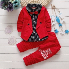 2019 Baby Boys Autumn Casual Clothing Set Baby Kids Button Letter Bow Clothing Sets red 100cm