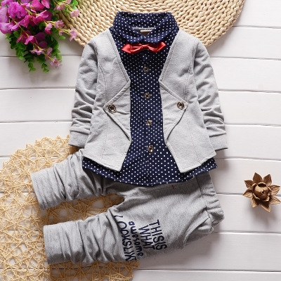 2019 Baby Boys Autumn Casual Clothing Set Baby Kids Button Letter Bow Clothing Sets gey 110cm